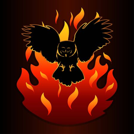 silhouette of an owl and a fire Ilustracja