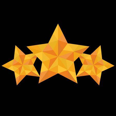 three triangulation yellow star on a black background Illustration