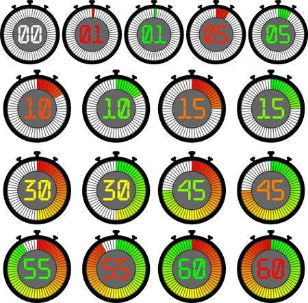 Set electronic stopwatch with a gradient dial starting with red or green. 00, 01, 05, 10, 15, 30, 45, 55, 60 Illustration