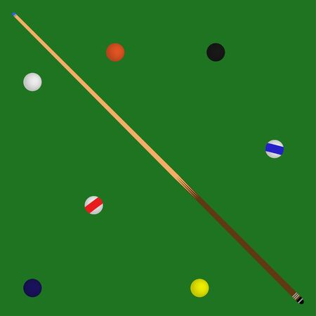 Billiard balls in a green pool table and cue
