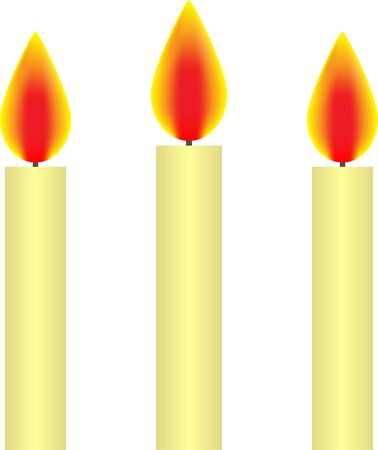 Three white burning candles Vector Illustration