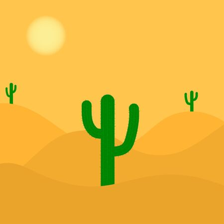 Retro Wild West. Desert with cacti