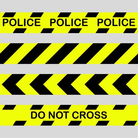 Yellow with black police line and danger tapes. Do not cross