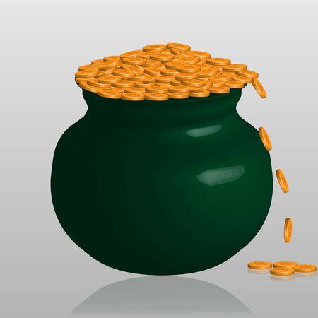 Großer grüner Topf mit Goldmünzen isoliert mit Glasschatten Vektorgrafik