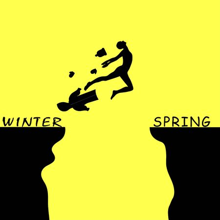 a man jumping over a precipice between winter and spring