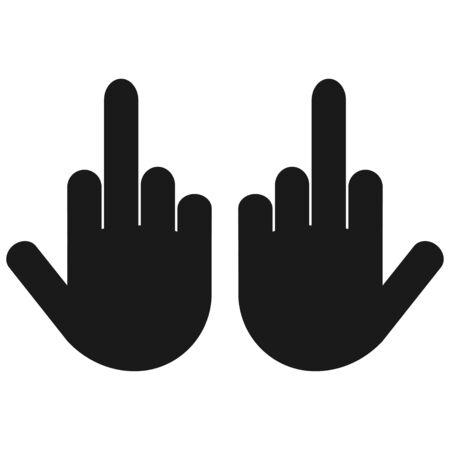 Two hand with Middle finger Up. icon isolated. Flat design
