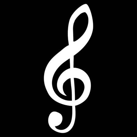 White Clef Musical Note Vettoriali