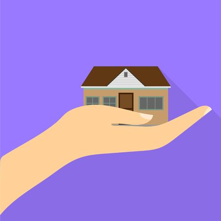 cool house in hand with shadow. Flat design