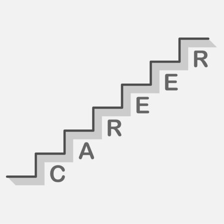 bisiness career ladder icon on gray background with text Illustration