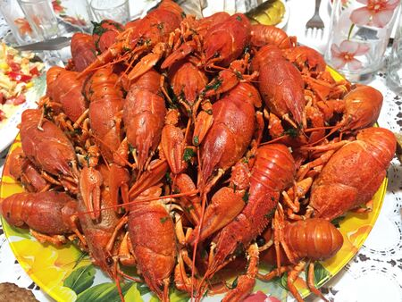 boiled crayfish on an red plate. Hot Boiled Crawfish