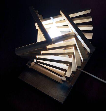 fun night light lamp with wooden blocks