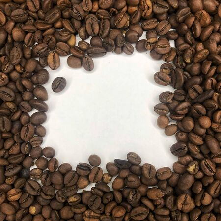 coffee grains on a white background Stockfoto