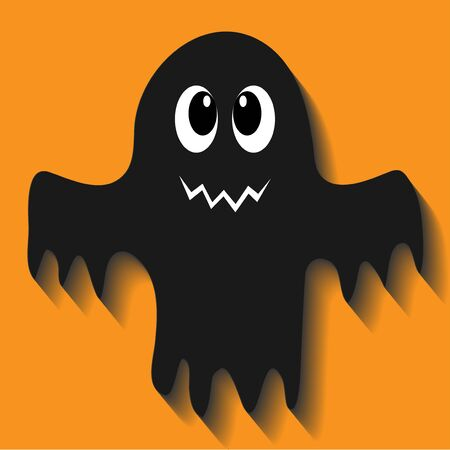 Isolated ghost icon on a orange Background. Ghost vector icon. Simple flat style design elements. Ilustração