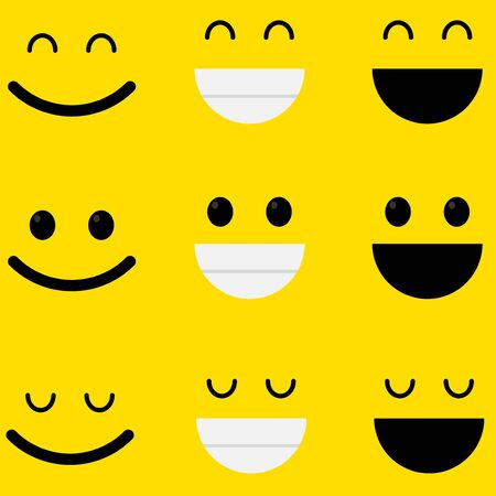 Set of emoticons line icons. Smile icons line art isolated on yellow background Illustration