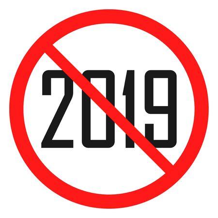 ban 2018 number icon black object in red warning sign Ilustração