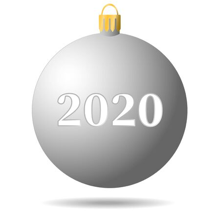 metal white Christmas ball 2020 with shadow 向量圖像