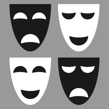 Vector theatrical masks - set isolated Tragedy and Comedy mask. Flat design 向量圖像