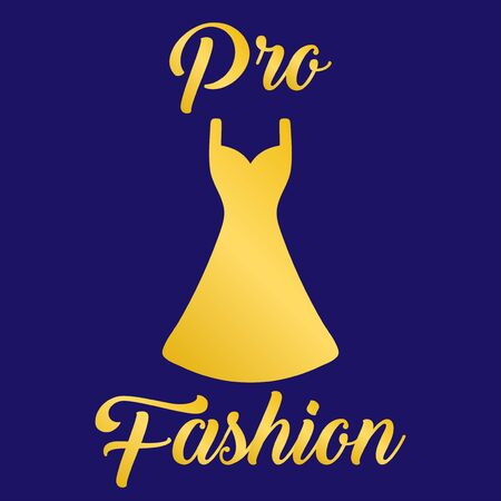 gold dress with text. Icon for clothing. For example shop PRO Fashion