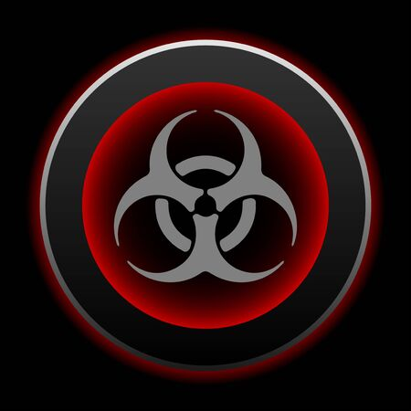 Metal button Biohazard sign. Black with red shadow