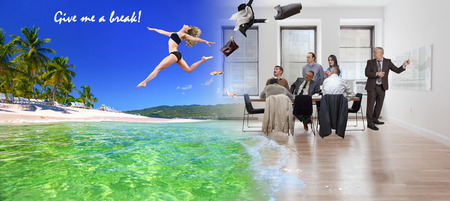 Collage, girl jumping from office to tropical beach