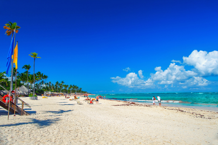 White sand of the Dominican beach of Bavaro
