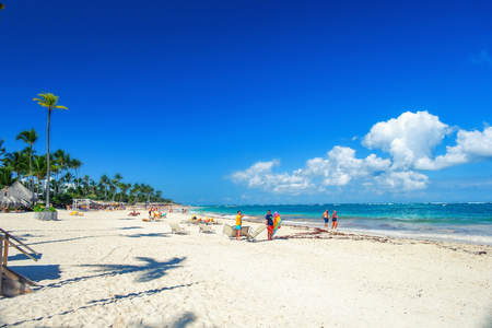 Sunny beach, white sand. Dominican Republic, Bavaro coast beach