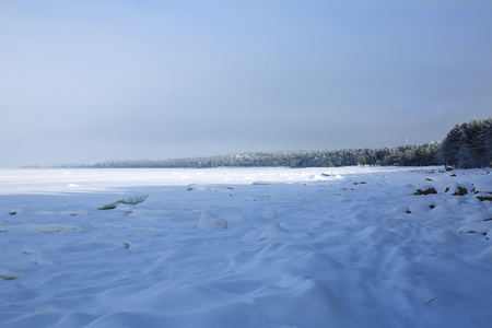Ice hummocks on the surface of the frozen Gulf of Finland