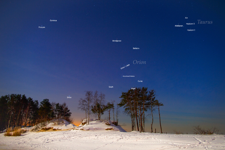 Stars in the winter night sky. Constellations of Orion and Taurus in the Northern Hemisphere Stock Photo