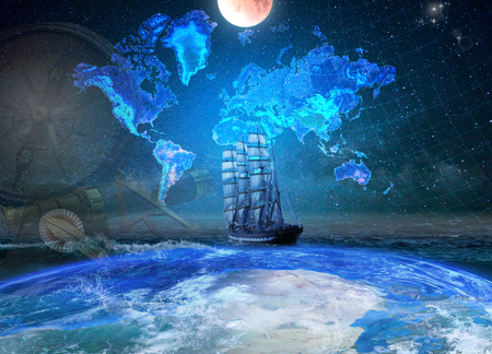 Four-masted bark in the ocean, lit by the moonlight. Geographical map of the earth against the background of the starry sky.