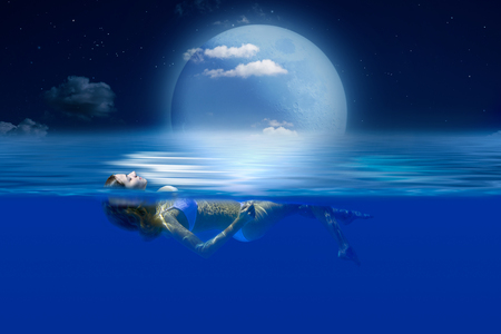 Sea, night, moon, starry sky. Girl lying on the water