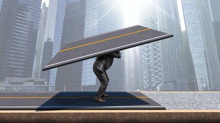 A man in a business suit lays asphalt