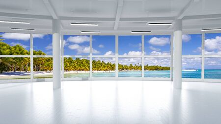 View from the empty and bright office space on a tropical beach Reklamní fotografie