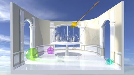 3D rendering - Victorian room and glass vessels on the table