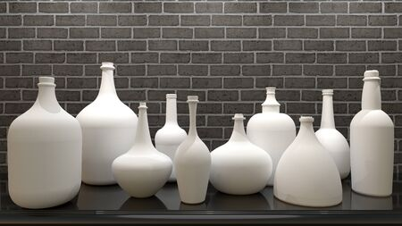 3D rendering - white ceramic bottles made on a brick wall background.