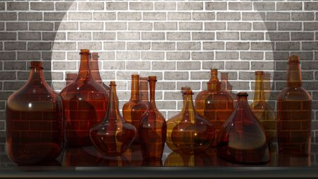 3D rendering - glass bottles made of brown glass against a brick wall