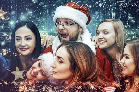 New Year card - Santa Claus surrounded by young girls Imagens