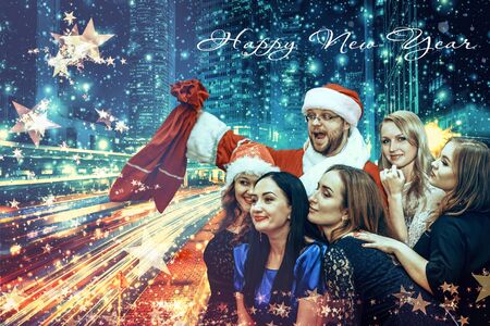 New Year card - Santa Claus surrounded by young girls Stock Photo