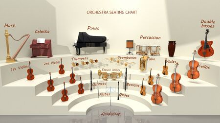 Orchestra seating chart - musical instrument positions. 3D rendering Standard-Bild