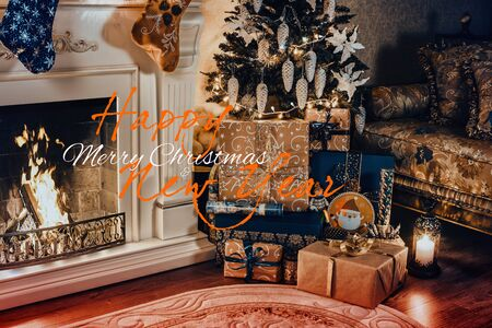 Christmas interior panorama - living room and decorated fireplace. Stok Fotoğraf