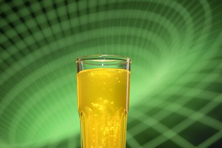 Glass filled with carbonated energy drinks with carbon dioxide bubbles