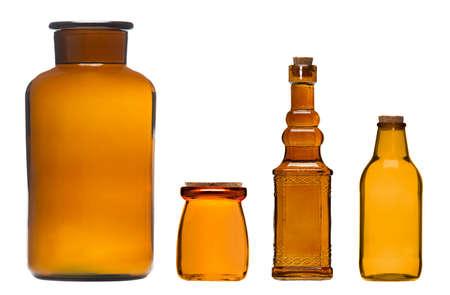 Vintage brown glass bottles and jars with corks