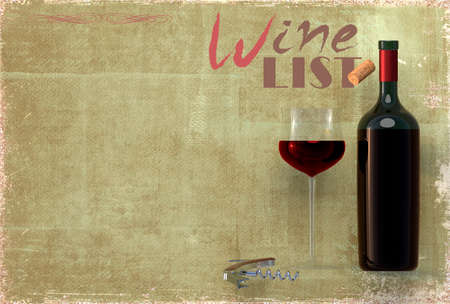 Wine list template - wine bottle, glass and corkscrew. 3D rendering