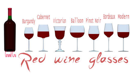 An illustration of the main types of red wine glasses. 3D rendering Stok Fotoğraf