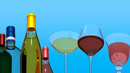Bottles and glasses with wine and cocktails on a blue background. 3D rendering Stok Fotoğraf