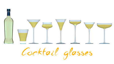 An illustration of the main types of cocktail glasses. 3D rendering Stok Fotoğraf