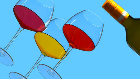 Bottle and glasses with various wines on a blue background. 3D rendering