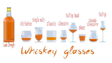 An illustration of the main types of whiskey glasses. 3D rendering