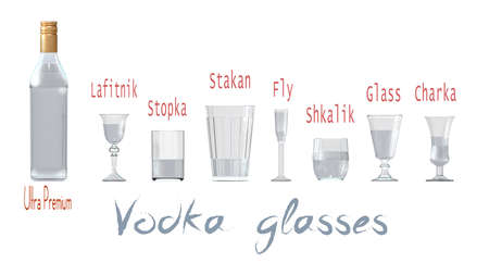 An illustration of the main types of vodka glasses. 3D rendering