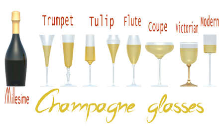 An illustration of the main types of champagne glasses. 3D rendering Stok Fotoğraf