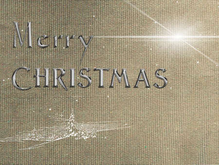 Merry Christmas chrome text effect on aged fabric background